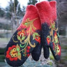 Women Gloves Ladies Harajuku Retro Gloves Winter Mittens Gloves Embroidery Outdoor Gloves Mittens Women #8217 s Winter Warm Gloves cheap Adult CN(Origin) Polyester Patchwork Wrist Fashion WSL571a