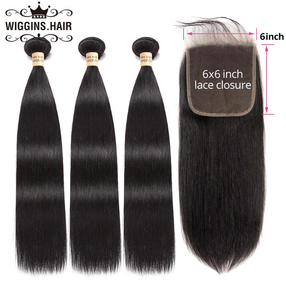 Wiggins 3 Bundles With 6x6 Closure Brazilian Straight Hair Human Hair Bundles With Closure Free Part Remy Hair