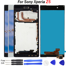 цены на For Sony Xperia Z5 Screen E6603 E6633 E6653 E6683 LCD Display Touch Screen Digitizer Assembly with Frame Free Tools LCD Parts  в интернет-магазинах