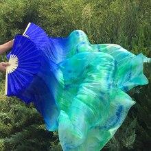 2019 wachlarz do tańca brzucha welon 1 para (prawy + lewy) ręka 1.8m * 0.9m kobiety orientalny taniec brzucha wachlarz jedwabny turkusowy Tie dye Fan welony