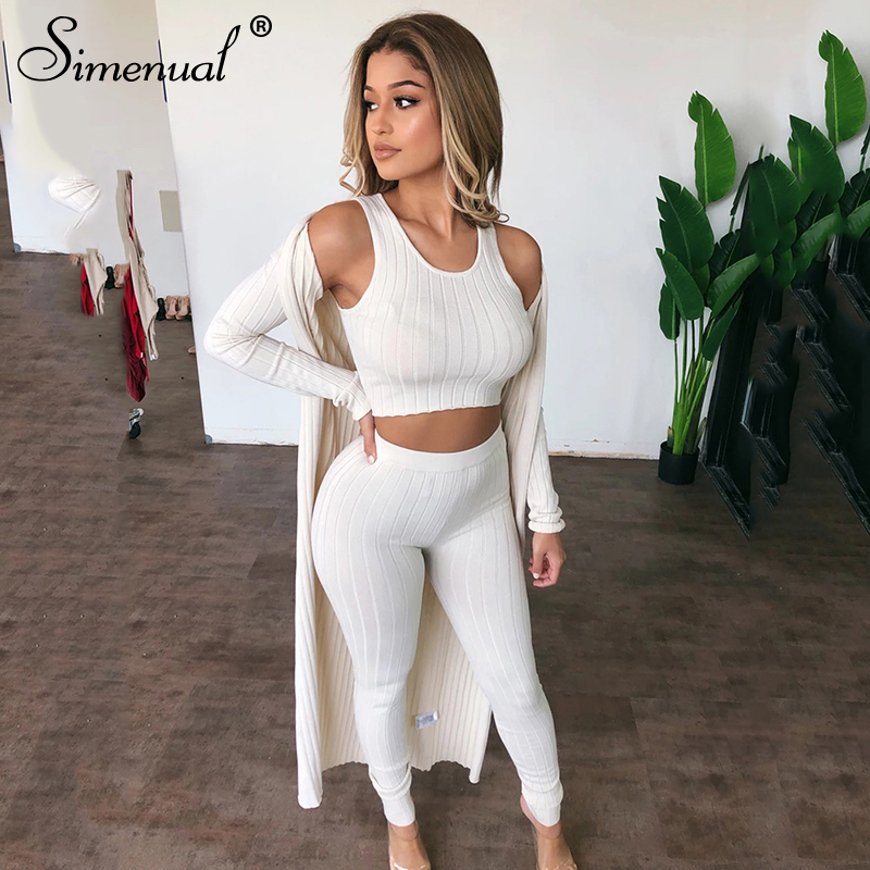 Simenual Fashion Basic Ribbed Casual Matching Sets Women Sleeveless Bodycon Solid Two Piece Outfits Skinny Top And Panst Set New