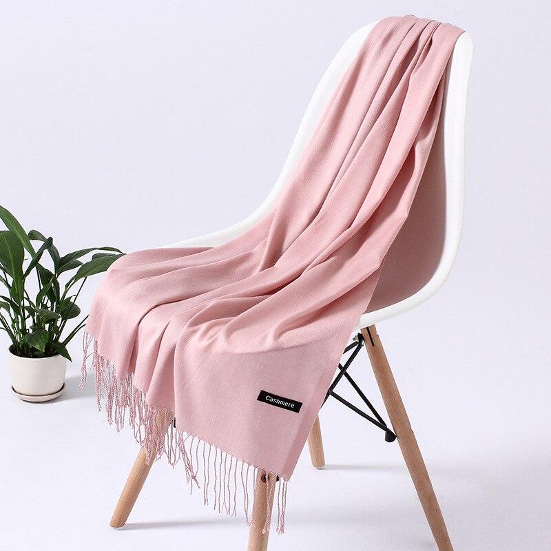 Однотонный кашемировый шарф для женщин новые длинные мягкие шали и палантины пашмины модные хиджаб с кисточками женские шейные шарфы - Цвет: 110g  BaBy pink