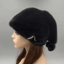 Natural Mink Fur Hat for Women Winter Warm Hats with balls Luxury Black Christmas Hat adjustable head size 55-62cm