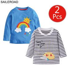 Saileroad 2pcs 레인보우 썬 걸스 긴 소매 셔츠 아동복 가을 베이비 탑 의류 4 년 어린 아이 티셔츠