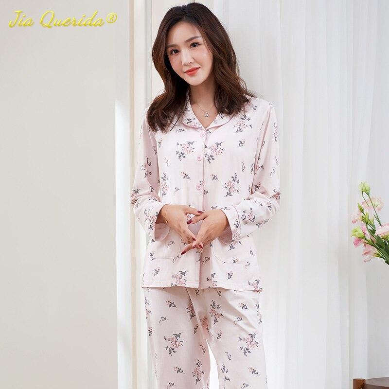 Elegant Pijama Mujer 100% Pure Cotton Pyjama Women Quality Classic Home Clothes Luxury Floral Printing Skin Friendly Pajamas Set
