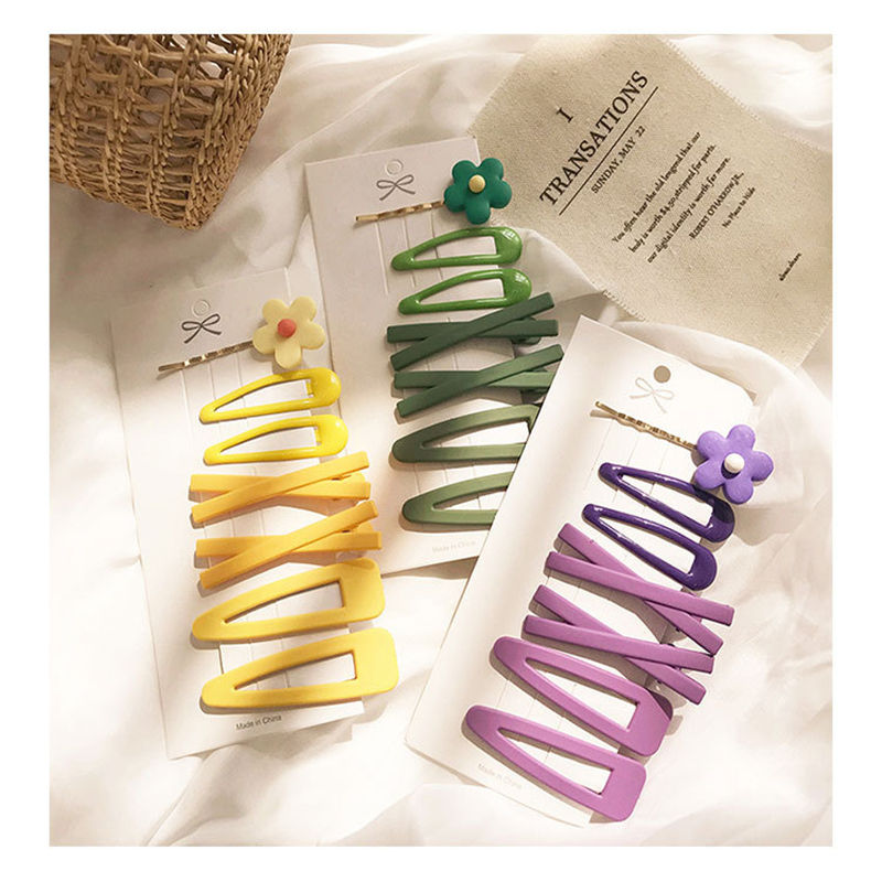 7PCS/Set Candy Colors Cute Flower Hair Clips for woman girls Sweet Hairpins Headband Barrettes Fashion Hair Accessories