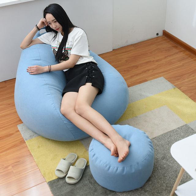 Indoor Leisure Lazy Cotton Bean Bag Cover Bean Bag Sofa Liner Cloth Bean Bag Without Filler Removable Washable Liner Cover 1