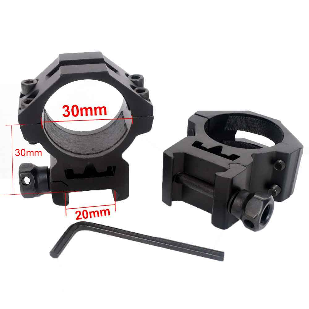 WIPSON 1 Pair (2pcs) Heavy Duty Low Profile 6 Bolts 30mm Ring 20mm Weaver Picatinny Rail Scope Mount Lasers Flashlights Hunting