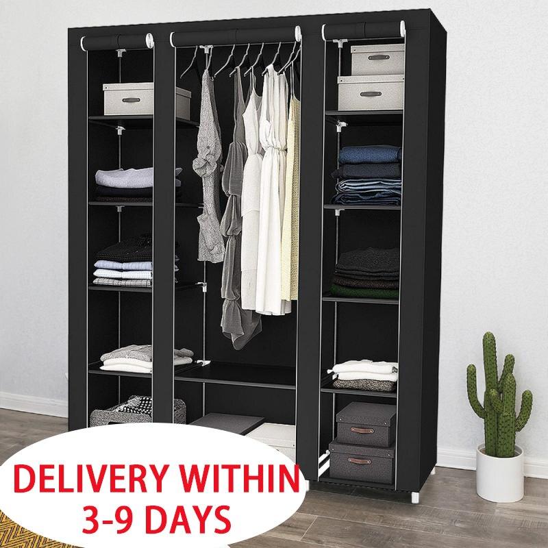 Шкаф из нетканого материала, портативный складной пыленепроницаемый водонепроницаемый шкаф для хранения одежды, мебель для дома HWC