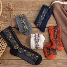 New Autumn Winter National Flower socks for Women Personality Socks Girls Female Black white