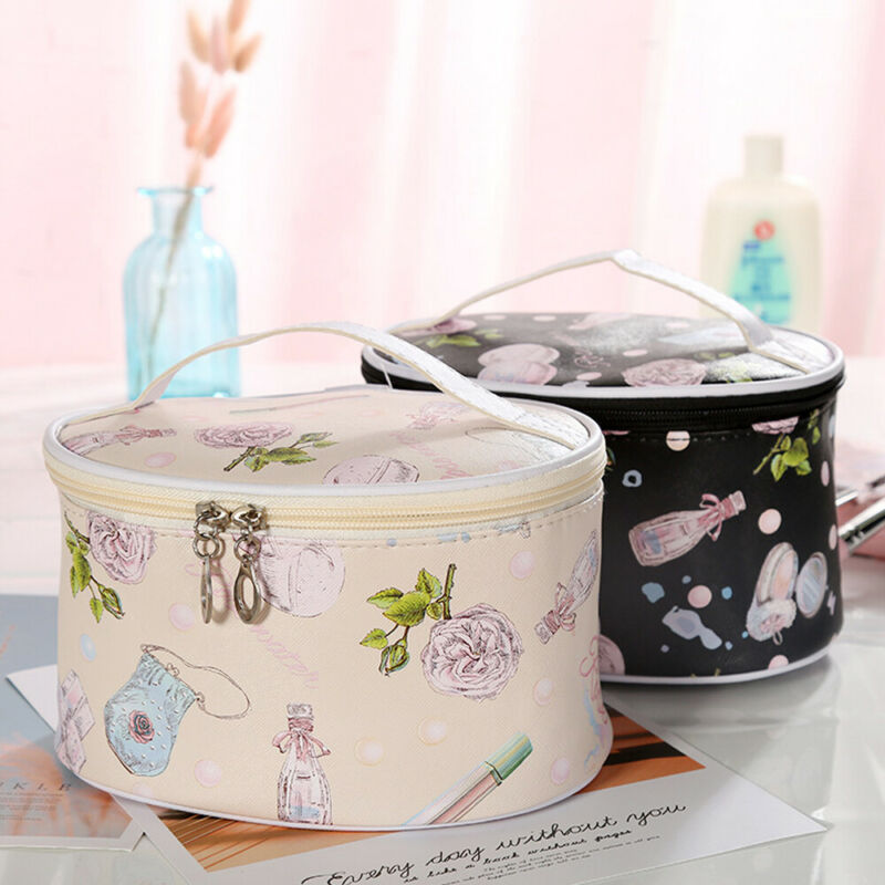 2019 Newest Hot Women Waterproof Makeup Bag Cosmetic Bags Travel Toiletry Wash Case PU Leather Luxury Floral Printed Bags