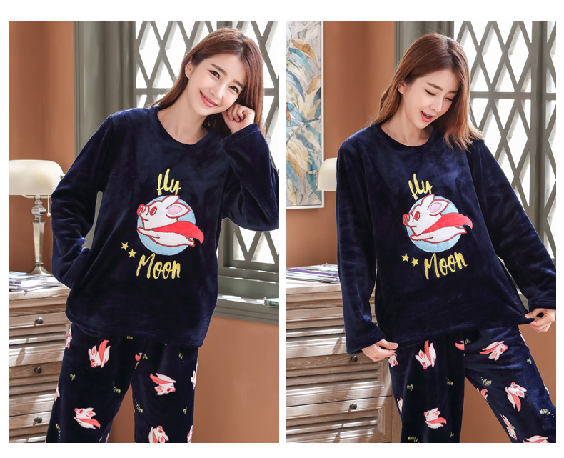 Long Sleeve Warm Flannel Pajamas Winter Women Pajama Sets Print Thicken Sleepwear Pyjamas Plus Size 3XL 4XL 5XL 85kg Nightwear 380