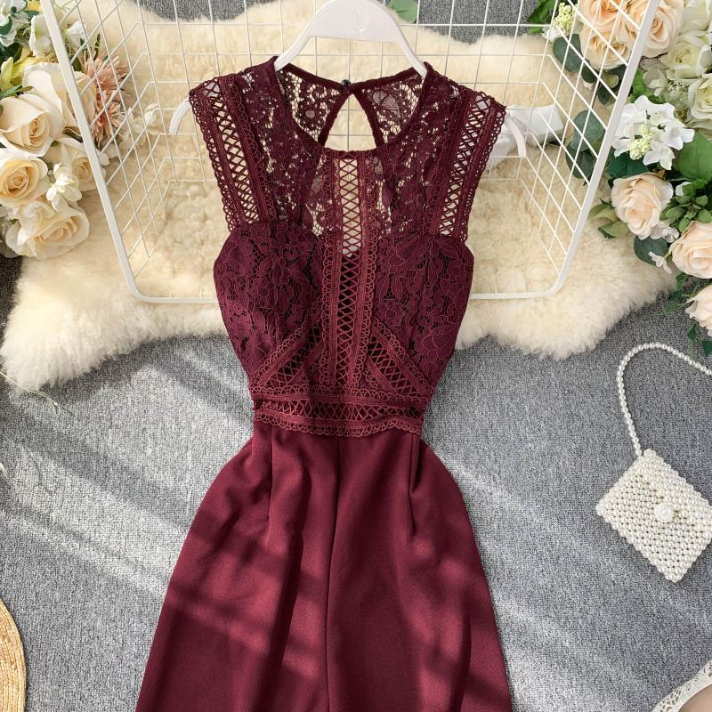 Elegant High Waist Hip Wide Leg Patchwork Lace Hollow Out Sleeveless Jumpsuit 14