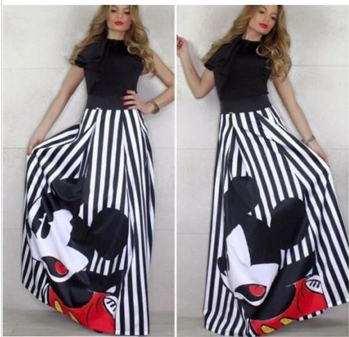 Bonjean Winter Autumn Women's Mickey Bud Skirt Mouse Waist Long Skirts Women Young Girl Thick Large Size Fahion Female Falda