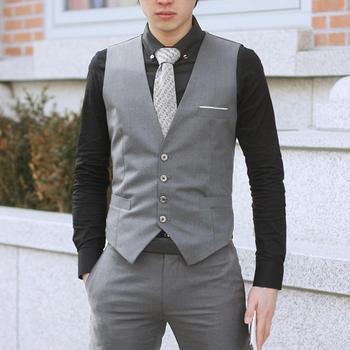 Business Men 4 Buttons V-Neck Sleeveless Waistcoat Slim Working Wedding Vest Men's Business Casual Suit Vest