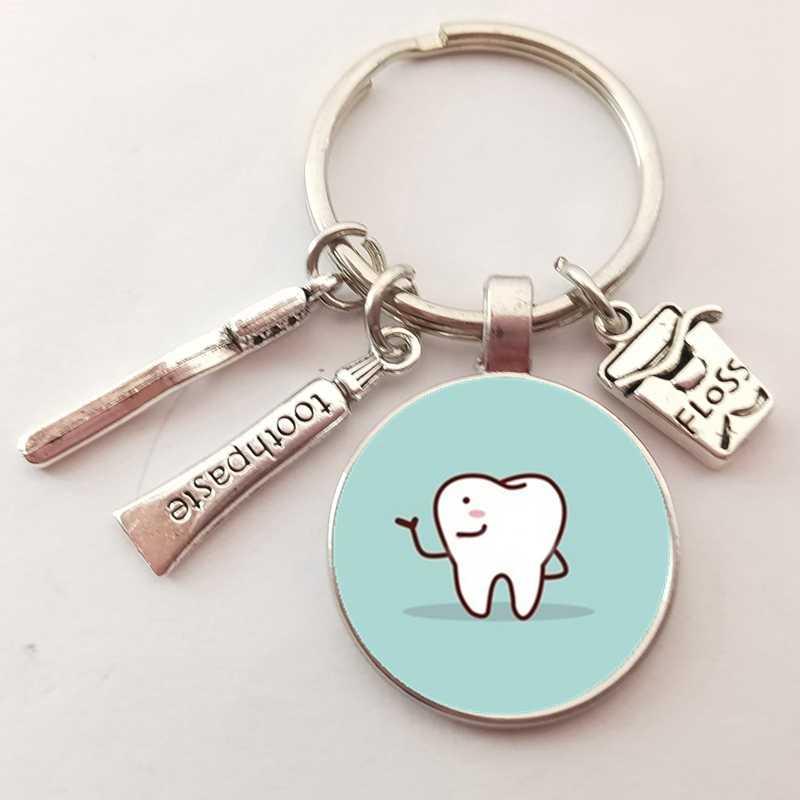 2020 New Dentista Dental Vetro Portachiavi Dental Assistant Regalo Pulizia Dei Denti Portachiavi
