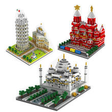 цена на 3D Creative Architecture Bricks Mirco Leaning Tower of Pisa Blocks Russia Moscow Vasily Cathedral Toys for Kids Educational Toy