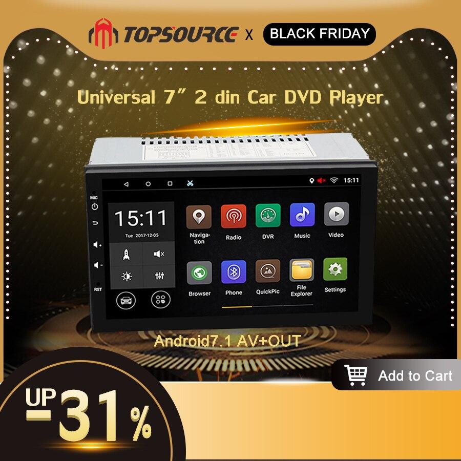 TOPSOURCE Универсальный 7 2 din Автомобильный dvd плеер Rds автомобильный Радио gps навигация wifi Bluetooth Android 7,1 четырехъядерный 1 г/16 г 1024*600