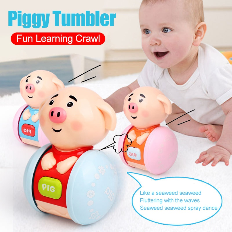 Newborns Baby Toys Cute Piglet Rattles Tumbler Doll Baby Toys Sweet Bell Music Learning Education Toys Gifts