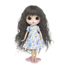 Wigs Only!Heat Resistant Long Curls Doll Hair Burgundy Body Wavy Baby Girl Blyth Pullip Wig with 9-10 Inch