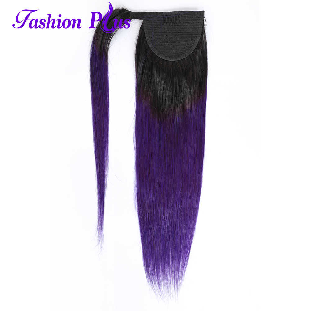 Long Peruvian Ponytail Human Hair Extensions Straight Remy Hairpiece Magic Wrap Around 1B/Purple Clip In Ponytail For Women
