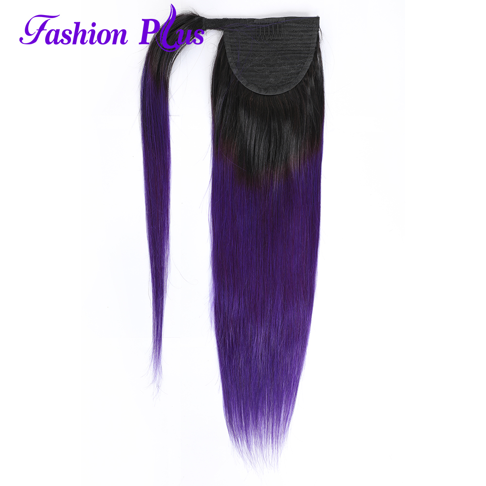 Long Peruvian Ponytail Human Hair ExtensionsStraight Remy Hairpiece Magic Wrap Around 1B/Purple Clip In Ponytail For Women