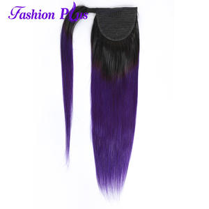 Hairpiece Ponytail Human-Hair 1b/purple Extensionsstraight Around Long Peruvian Clip-In