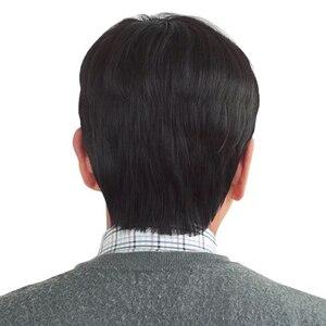 Image 4 - MUMUPIสั้นตรงเต็มวิกผมสังเคราะห์สำหรับชายผมFleecinessที่สมจริง 100% Natural Hair Wigs