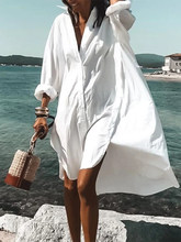 Shirt Beach Dress White Vacation Dress Long Sleeve Swimsuit Cover Up Women Tunic Plus Size Blouse Cardigan Women Party Dress(China)