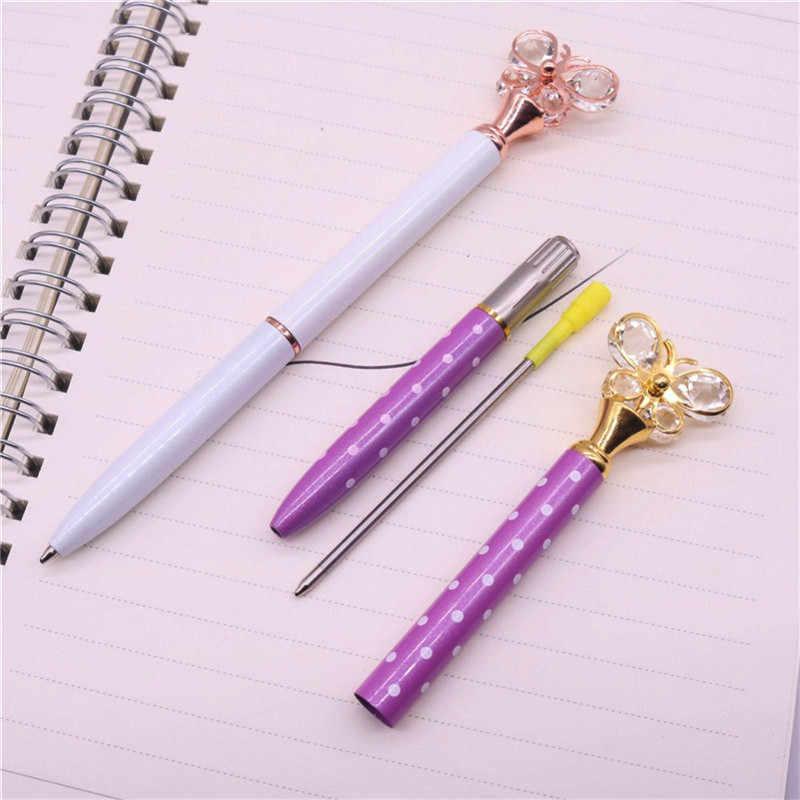 1 adet kristal kelebek tükenmez kalem 0.7mm mermi ucu Metal tükenmez kalem öğrenci ofis kırtasiye yazma kalem siyah dolum