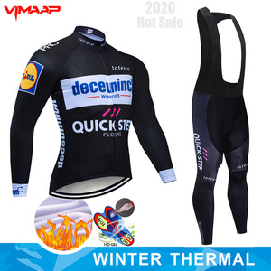 2020 Pro Team QUICK STEP Cycling Jersey 9D Bib Set Belgium Bike Clothing Mens Winter Thermal Fleece Bicycle Clothes Cycling Wear