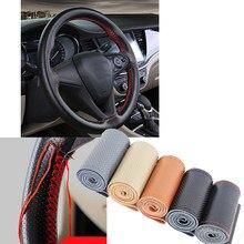 Para 38cm volante do carro trança capa agulhas e linha de couro artificial capas de carro suíte diy textura macia acessórios automóveis