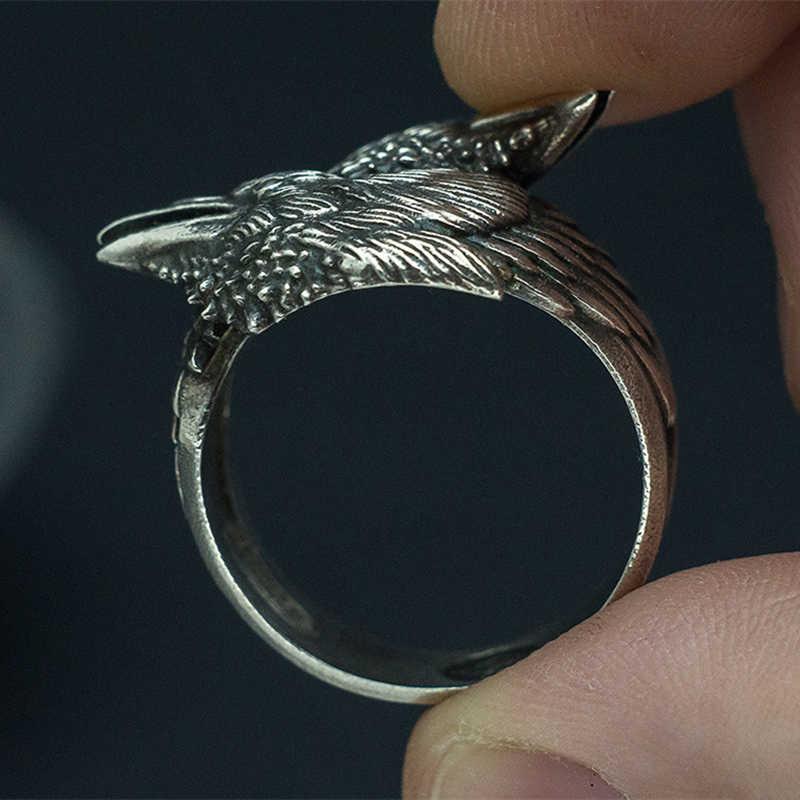 EYHIMD Viking мужское кольцо с двумя зубцами, норвежская мифология, серебряное кольцо Odin Crow из нержавеющей стали, нордические амулеты, ювелирные изделия