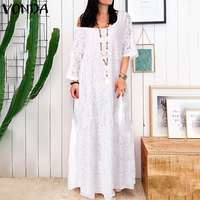 S 5XL Summer Dress Women Vintage Hollow Lace White Maxi Long Dress 2019 Female Sexy Flare Sleeve Holiday Party Vestido Plus Size