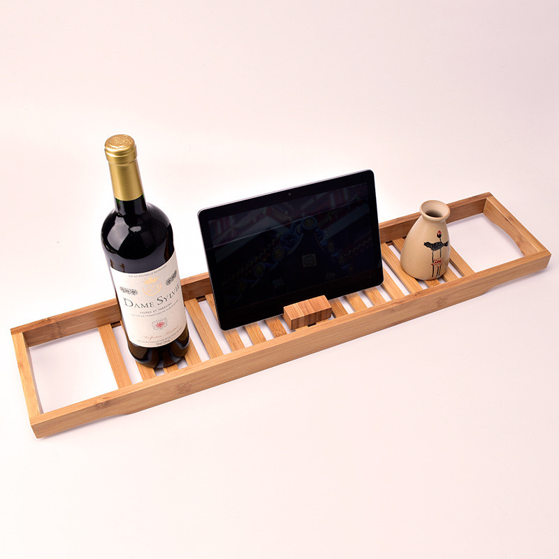 Bamboo Bath Rack Tidy Bathroom Storage Stand Tray Bathtub Shower Caddy Wine Glass Book Holder Bamboo Bath Shelf Bathtub Rack