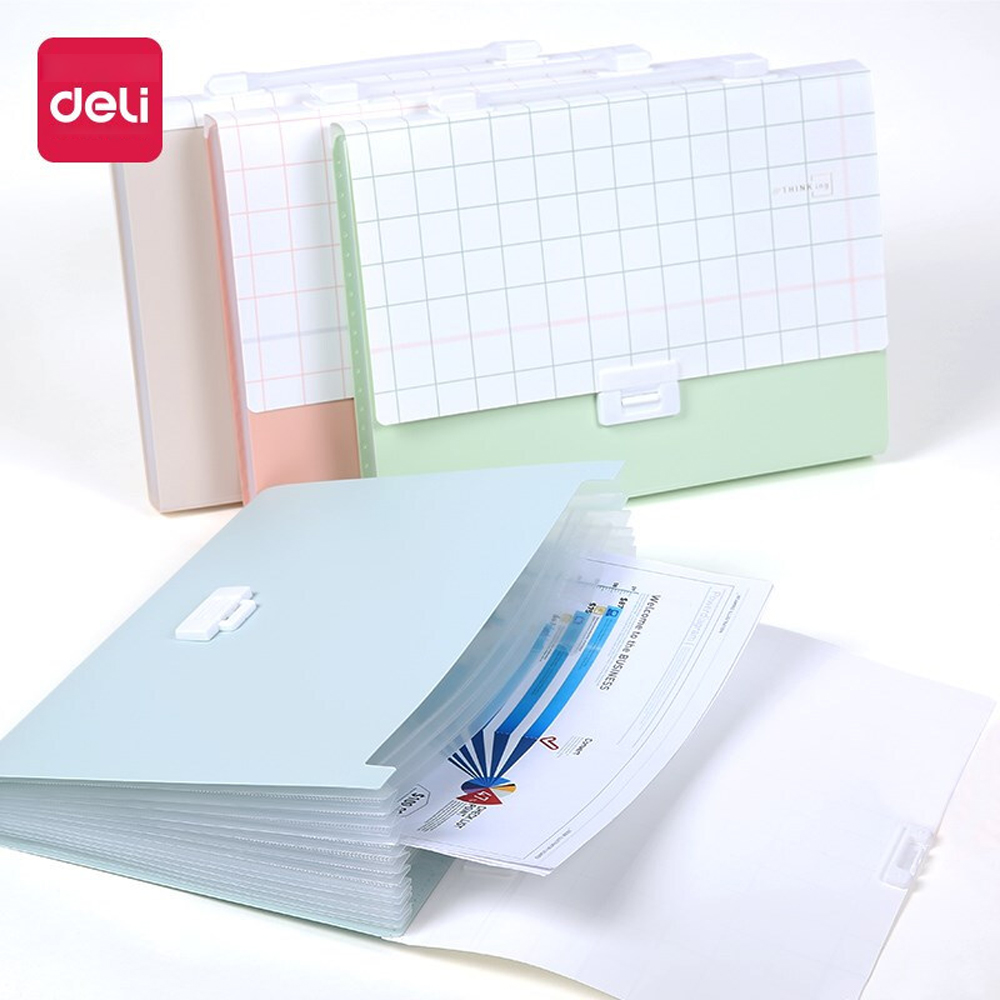Deli 1PCS 13 Grid Portable Organ Bag Student Large Capacity File Folder Bag Small Fresh Creative Multi-layer A4 File Package