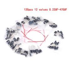 120 шт./лот, набор алюминиевых электролитических конденсаторов, 12 значений мкФ Ф-470 мкФ