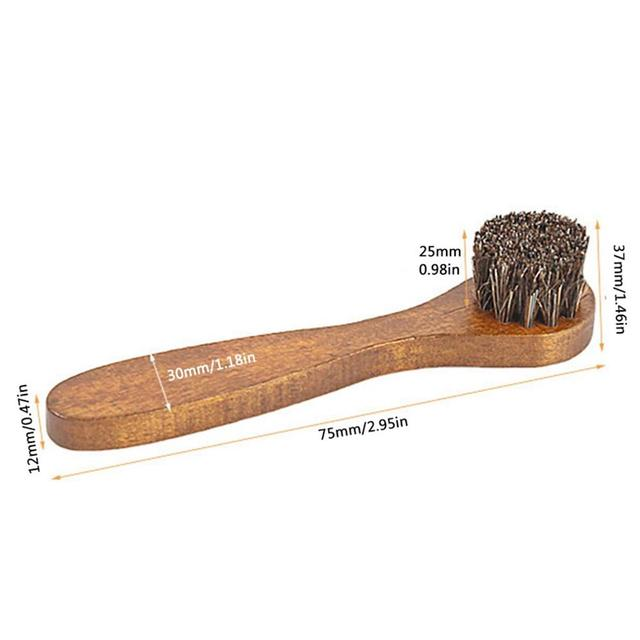Handle Long Maple Brush Horse Hair Smooth Leather Shoes Special Cleaning Brush Shoes Brush Horse Hair 5