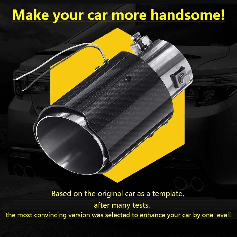 Semoic Universal Car LED Exhaust Muffler Tip Pipe Red Light Flaming Straight Car Modified Single Outlet Exhaust Pipe Tail Throat