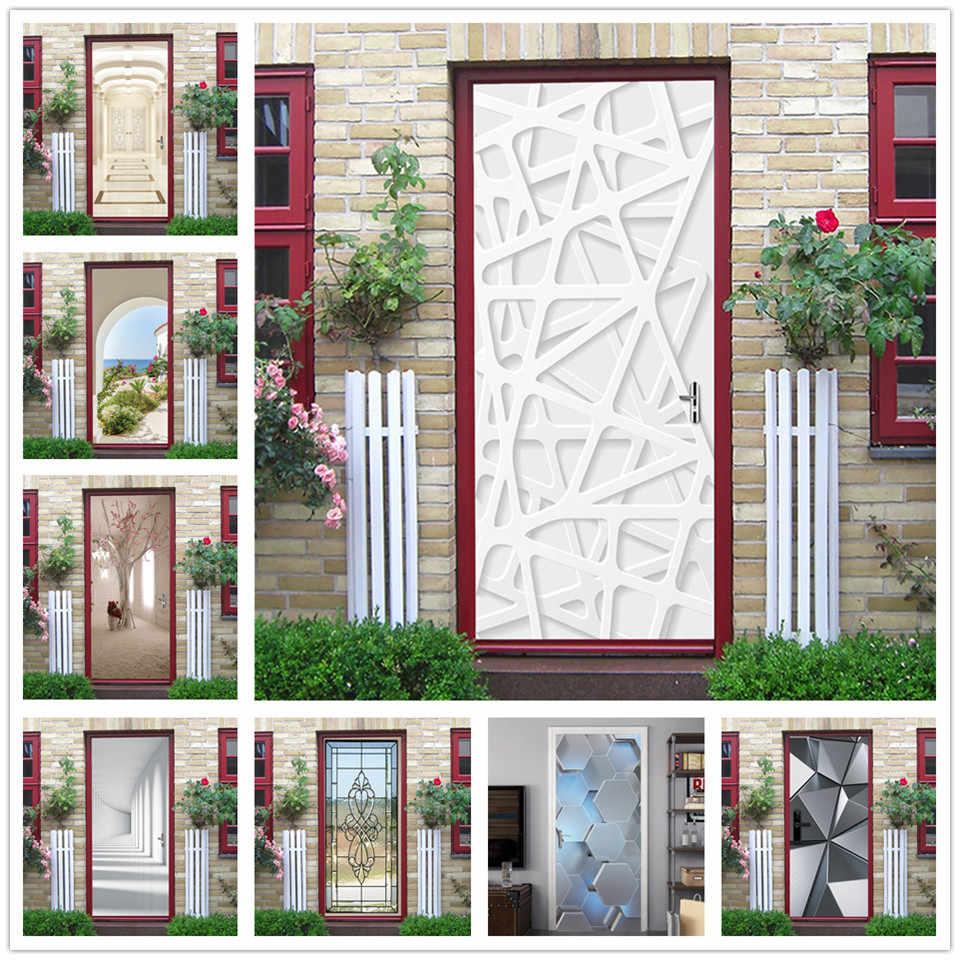 2Pcs//Set Geometric Stickers on the Doors Vinyl Waterproof Wallpaper Door Mural