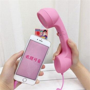 LDYE 3,5mm Jack clásico teléfono Retro Mini micrófono altavoz teléfono receptor de llamada para Iphone Samsung Huawei teléfono receptor