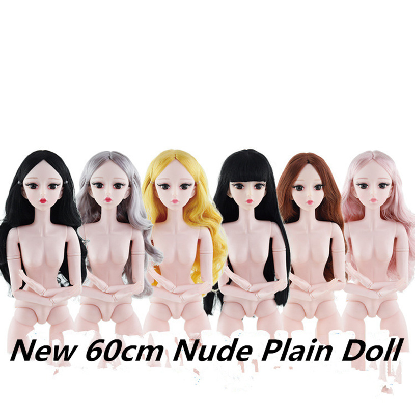 60cm BJD Doll Fashion Naked Doll Body With Shoes 4D Simulation Eyelash 21 Movable Jointed Pink Skin Doll Accessories Toy For Kid