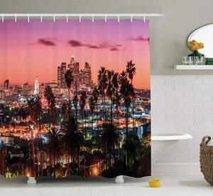 Estados unidos cortina de chuveiro sunset crepúsculo cenário los angeles famoso centro da cidade palmeiras tecido decoração do banheiro conjunto com ganchos