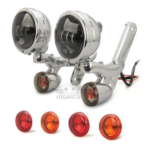 Image 1 - Für Harley Hilfs Beleuchtung Klammern scheinwerfer mit blinker Touring Straße Electra Glide 06 20 hilfs nebel lichter