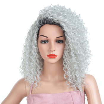 Lady Kinky Curly Afro Wig Gray Hair Mixed Black Color Synthetic Wigs for Women Heat Resistant Fiber Medium Length stylish medium layered capless straight black browm mixed synthetic wig for women