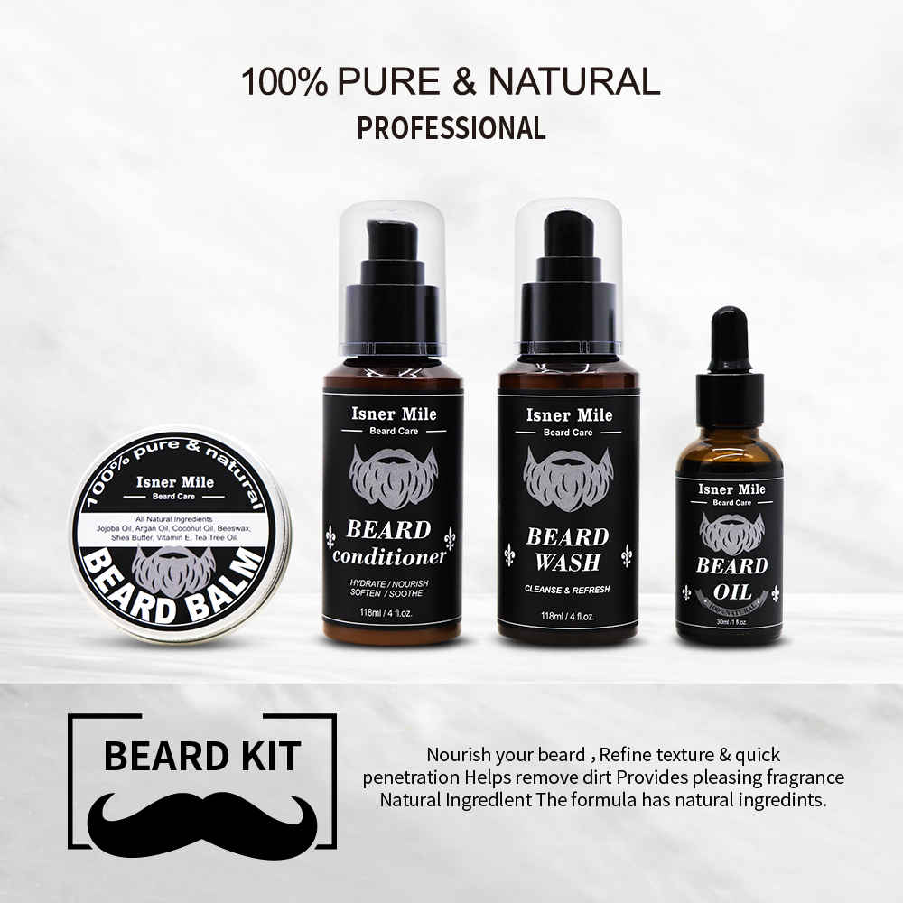 ISNER MILE 100% Natural Organic Beard Growth Oil Thickener Beard Essential Oil Hair Growth Nourishing 30ml