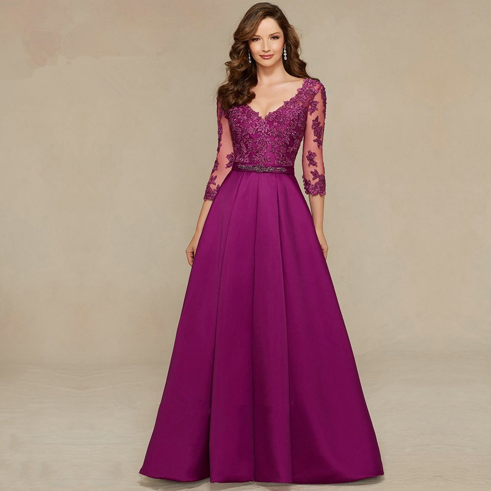 Vestido De Festa Longo Purple Women Formal Long Evening Gown Lace 3/4 Sleeves V Neck Beads Prom Mother Of The Bride Dresses