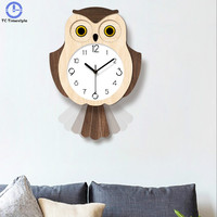 Acrylic Swing Wall Clock Modern Design Nordic Style Living Room Cartoon Owl Bedroom Silent Quartz Watches Children Room Ornament