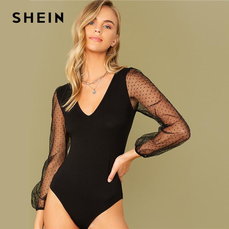 SHEIN Black V-neck Fitted Bodysuit Women Autumn Mesh Bishop Long Sleeve Mid Waist Elegant Skinny Bodysuits