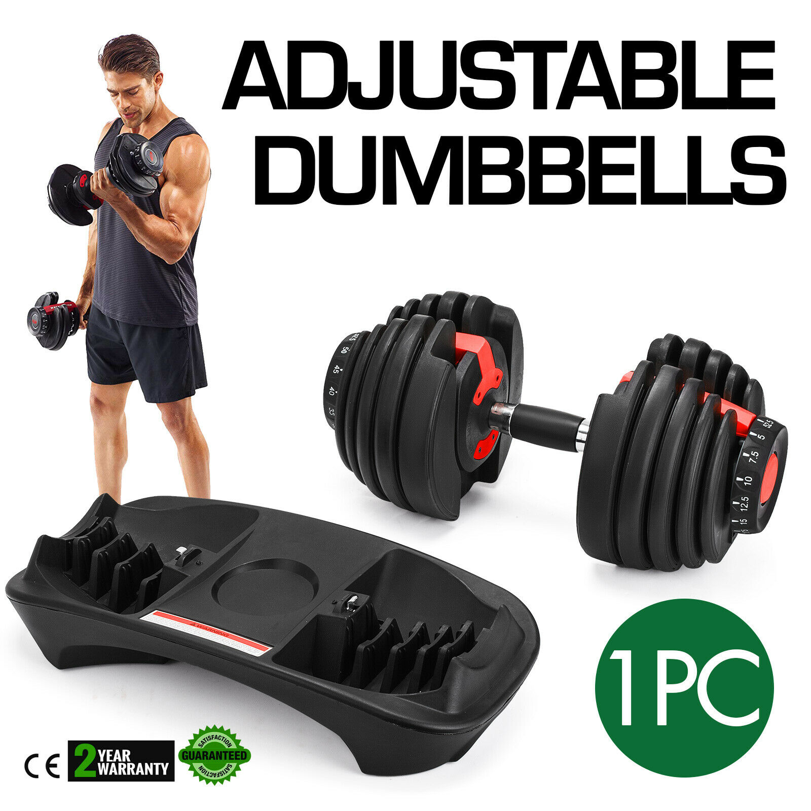 52.5LBS Adjustable Dumbbell  Fitness Dumbbell Standard Home Gym System- Building Muscle